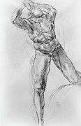 Old Drawings Prints - Old Masters Study Nude Man by Annibale Carracci Print by Irina Sztukowski
