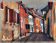Romania Drawings - Old medieval street in Sighisoara citadel Romania by Daliana Pacuraru