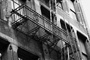 Old Metal Fire Escape Staircase On Side Of Building Greenwich Village New York City Print by Joe Fox