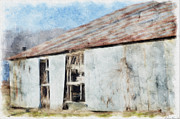 Shed Digital Art - Old Metel Shed painted effect by Debbie Portwood