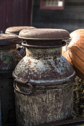 Country Scene Photo Prints - Old Milk Cans Print by Edward Fielding