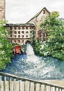 Park Scene Painting Originals - Old Mill Aqueduct by Elle Smith  Fagan