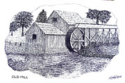 Pen And Ink Drawing Art - Old Mill by Frederic Kohli