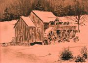 Old Mills Drawings Prints - Old Mill in Snow Print by Judy Sprague