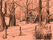Old Mills Drawings - Old Mill in Woods by Judy Sprague