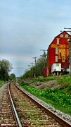 Feed Mill Photos - Old Mill on the Tracks by Julie Dant