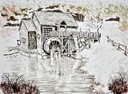 Old Mills Drawings Posters - Old Mill Serenity Poster by Judy Sprague