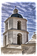 Oceanside California Posters - Old Mission San Luis Rey Tower - California Poster by Jon Berghoff