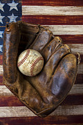 Stitching Prints - Old mitt and baseball Print by Garry Gay