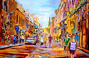 Montreal Restaurants Paintings - Old Montreal Paintings Summer  Street Scene Along The Old Port by Carole Spandau