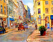 Restos Framed Prints - Old Montreal Paintings Youville Square Rue De Commune Vieux Port Montreal Street Scene  Framed Print by Carole Spandau