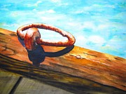 Loop Paintings - Old Mooring Ring on Wood Dock by Carlin Blahnik