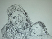 Moroccan Drawings Posters - Old Mother with New Baby Poster by Esther Newman-Cohen