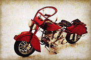 Men Mixed Media Metal Prints - Old motor-bike Metal Print by Angela Doelling AD DESIGN Photo and PhotoArt