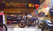 Wheels Digital Art Posters - Old Motorcycle Shop 2 Poster by Mike McGlothlen