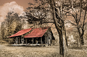 Old Cabins Posters - Old Mountain Cabin Poster by Debra and Dave Vanderlaan