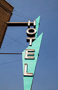 Art Deco Photos - Old Neon Hotel Sign by Edward Fielding