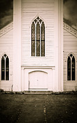 Stained Glass Windows Photos - Old New England Gothic Church by Edward Fielding