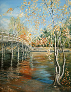 Old North Bridge Paintings - Old North Bridge Concord by Wendy Griffiths
