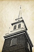 Steeple Framed Prints - Old North Church in Boston Framed Print by Elena Elisseeva