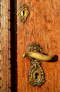 Brass Fittings Prints - Old Oak Door With Brass Handle and Locks Print by Ion vincent DAnu