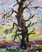 Oak Trees Paintings - Old Oak Tree Palette Knife Painting Oil Original by Ginette Callaway