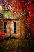 One Room School Houses Posters - Old One Room School House in Autumn Poster by Julie Dant