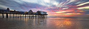 Maine Shore Framed Prints - Old Orchard Beach Panorama Framed Print by Eric Gendron