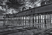 Maine Shore Framed Prints - Old Orchard Beach Pier BW Framed Print by Susan Candelario