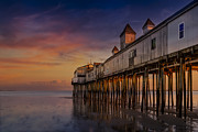 Old Orchard Beach Photos - Old Orchard Beach Pier Sunset by Susan Candelario