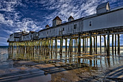 Maine Shore Framed Prints - Old Orchard Beach Pier Framed Print by Susan Candelario