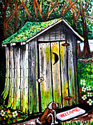 Toilet Painting Originals - Old Outhouse by Bob Crawford