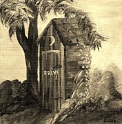 Antique Outhouse Framed Prints - Old Outhouse - Sepia Tones Framed Print by Eloise Schneider