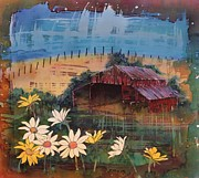 Blue Flowers Tapestries - Textiles Metal Prints - Old Palouse Barn Metal Print by Carolyn Doe