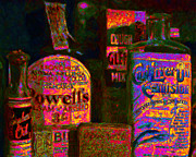 Medicine Digital Art Prints - Old Pharmacy Bottles - 20130118 v2a Print by Wingsdomain Art and Photography