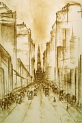 Old Street Drawings Posters - Old Philadelphia Poster by Peter Art Prints Posters Gallery