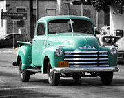 Chev Pickup Photos - Old Pickup Truck Photo Teal Chevrolet by Terry Fleckney
