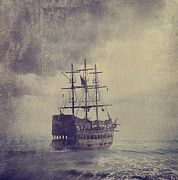 Ship Pyrography Posters - Old Pirate Ship Poster by Jelena Jovanovic