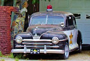 Cop Cars Posters - Old Police Car Poster by Cynthia Guinn