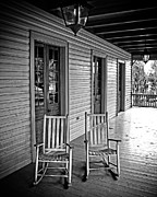 White House Framed Prints - Old Porch Rockers Framed Print by Perry Webster