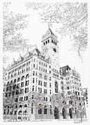 D.c. Drawings Framed Prints - Old Post Office Wash.D.C. Framed Print by Sonny Perschbacher