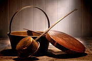 Historic Home Photo Metal Prints - Old Pots and Pans Metal Print by Olivier Le Queinec