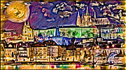 Prague Castle Digital Art Acrylic Prints - Old Prague Magic - Wallpaper Acrylic Print by Daniel Janda