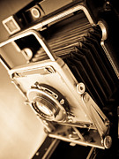Monochromatic Metal Prints - Old Press Camera Metal Print by Edward Fielding
