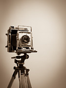 Camera Metal Prints - Old Press Camera on Tripod Metal Print by Edward Fielding