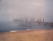 Foggy Day Painting Posters - Old Provincetown Pier in Fog Poster by Viola Holmgren