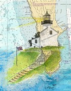 Old Map Painting Prints - Old Pt Loma Lighthouse CA Nautical Chart Map Art Cathy Peek Print by Cathy Peek