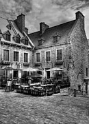 White Walls Framed Prints - Old Quebec City bw Framed Print by Mel Steinhauer