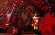 Violins Photos - Old raido and Christmas nutcracker by Garry Gay