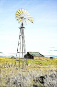 Kinkade Style Photo Posters - Old Ranch Windmill Poster by Steve McKinzie